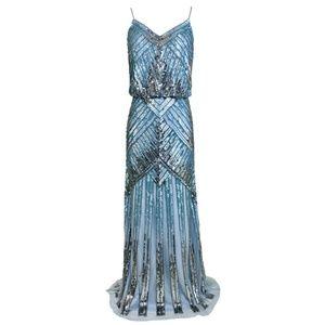 Aidan Mattox Sequin Blue Silver Long Gown Evening